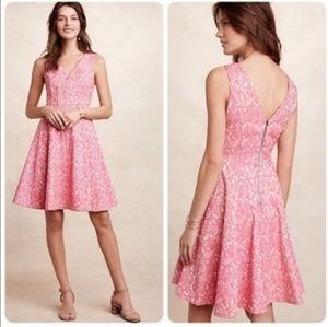 Maeve By Anthropologie Claribel pink brocade dress